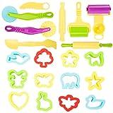 bennyuesdfd 20 Teilig Knete Zubehör Ausstechformen Knete Spielzeug Knetwerkzeug Plastilin Werkzeu Küchenspielzeug für Kinder Weinachten Geschenk