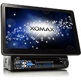 """XOMAX XM-DTSB1010 Radio de coche / Autoradio / Multimedia Player con desmontable 25 cm (!) / 10 """"pulgadas de pantalla táctil + Bluetooth manos libres y reproducción de música + código Free DVD / CD + puerto USB y ranura para tarjetas SD de hasta 32 GB + MP3, WMA, MPEG4, AVI , DIVX, JPEG, etc + conexiones para el subwoofer y cámara trasera + protección de robo (pantalla y teclado desmontable) + individual DIN (1 DIN) tamaño de instalación estándar, incluyendo control remoto, integrado en el marco y el panel"""