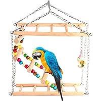 Set de Juguete para balancín con Campana para pájaros, Loro, Periquito, cacatúa, Verde, cacatúa, cacatúa, Macaw eccectus Africano, Jaula de Amazon, Soporte de Perca