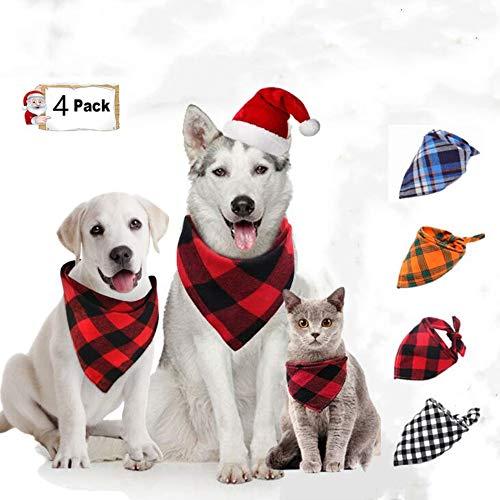 Afufu Hund Bandana Kragen, in 4 Stück Kariertes Hundehalstuch, Stilvolle Halstuch Hund, für kleine mittelgroße und große Tiere(Blau, Rot, Gelb, Schwarz und Weiß)