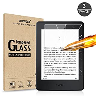 (3 Pack) Akwox Tempered Glass Screen Protector for Kindle Paperwhite, Akwox [0.3mm 2.5D High Definition 9H] Premium Glass Screen Protector for Amazon Kindle Paperwhite 1/2 / 3