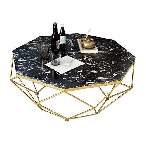 ZRXian-Kaffeetische Natürliche Marmor Couchtische, Haushalt Wohnzimmer Möbel Sofa Beistelltisch Ecke Esstisch, goldene Metall Eisenrahmen 45 cm hoch