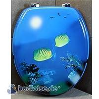 Asiento de inodoro peces tropicales Mar Azul/Amarillo DM, núcleo de madera de inodoro asiento de WC