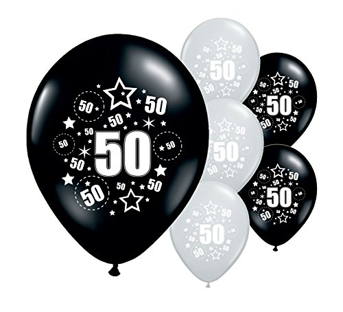 10 x Black and Silver 50th Birthday Party Balloons