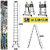 A-Frame Schritt Teleskop Leitern 5m (2,5m + 2,5m), Aluminium Verlängerung tragbar Leiter für Outdoor Indoor Home Loft Büro, solide Qualität mit Gummi