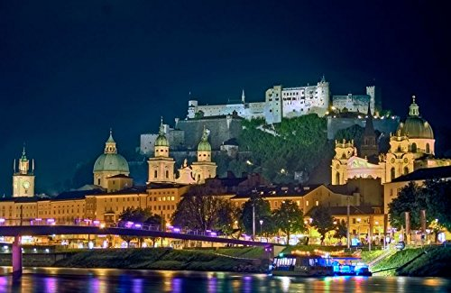 Salzburg With Castle Hohensalzburg Austria Europe Home Decor Art Wall Poster 50 X 33 cm (Hohensalzburg Castle)