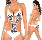Sinedoly Verbundene Bikini wild Gold Leopard Bikini Zebra Bikini Bikini sexy Badeanzug Weiß Zebra S
