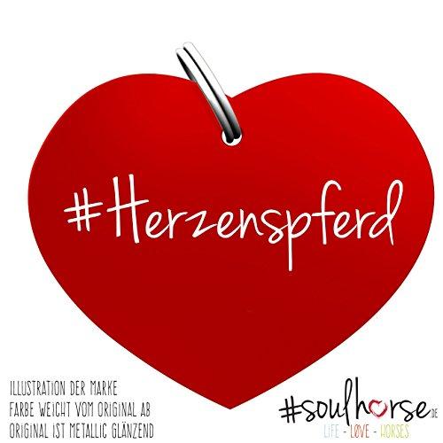 Soulhorse Pferde Glücksmarke Herzenspferd Herz Rot fürs Halfter, Trense und Zaumzeug