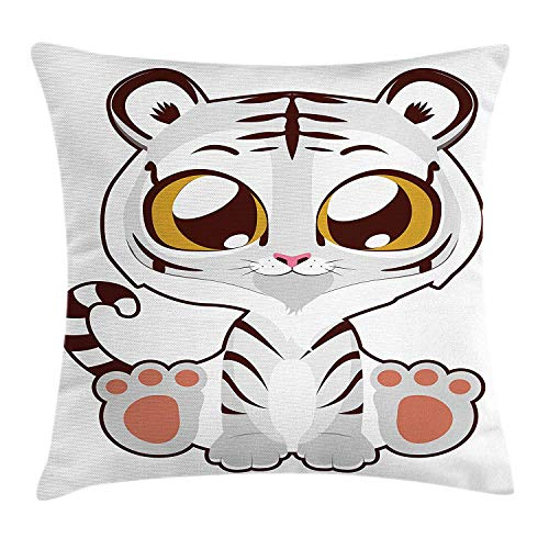 Kawaii Throw Pillow Cushion Cover, Little Albino Bengal Tiger with Giant Eyes Funny Cartoon Style Animal Character, Decorative Square Accent Pillow Case, 18 X 18 inches, Multicolor Albino Leopard