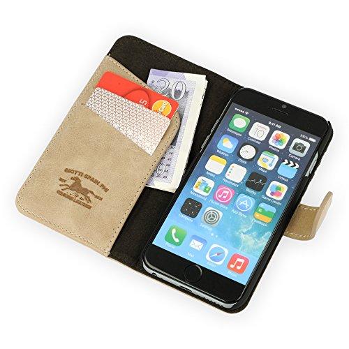 QIOTTI >            Apple iPhone 6 und 6S (4,7 Zoll)            < incl. PANZERGLAS H9 HD+ Geschenbox Booklet Wallet Case Hülle Premium Tasche aus echtem Kalbsleder / Denim mit Kartenfächer. Edel verpackt incl. Stoffbeutel. CREME PAT