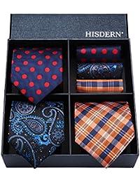 Hisdern Lotto 3 PCS Classico Elegante Seta da uomo Tie Set Cravatta & Pocket Square-Set multipli