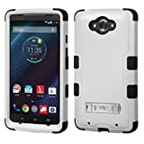 MyBat TUFF Hybrid Phone Protector Cover (with Stand) for MOTOROLA XT1254 (Droid Turbo) - Retail Packaging - Natural Grey/Black