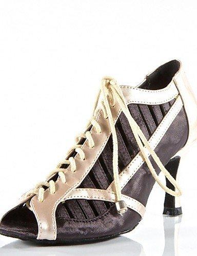 ShangYi Chaussures de danse (Noir/Rouge) - Non personnalisable - Talon aiguille - Satin/Similicuir - Moderne