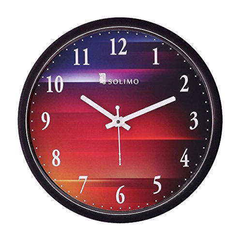 Amazon Brand - Solimo 12-inch Wall Clock - Colour hues (Silent Movement,...