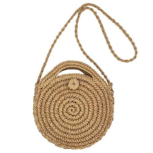 4f7b119e6fb2b SHUIBIAN Runde Stroh Strandtasche Sommer Vintage Handarbeit Umhängetasche  Kreis Rattan Tasche böhmische Umhängetasche für Frauen (Braun+1)