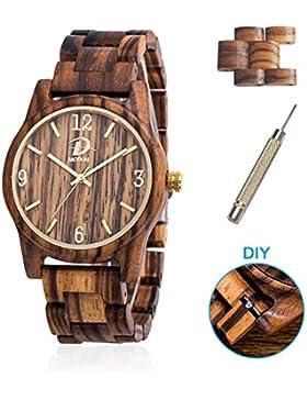 Holz Uhren für Männer und Frauen + 2 Uhren Links, 40mm Fall Natürliche Zebra Holz Armbanduhr mit Japanisches Quarzwerk...