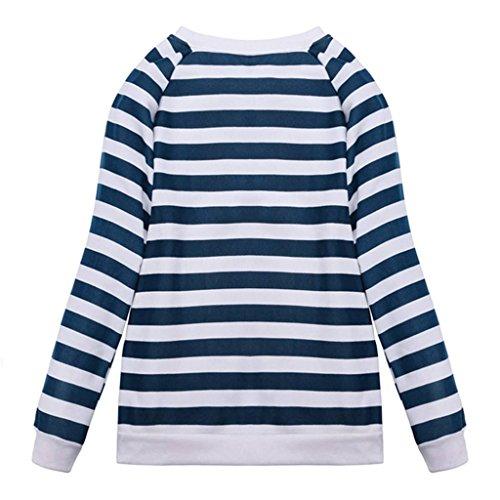 Minetom Femmes Casual Pull Col Rond Ancre Motif Vest Manche Longue Shirt Tops Blouse One Color