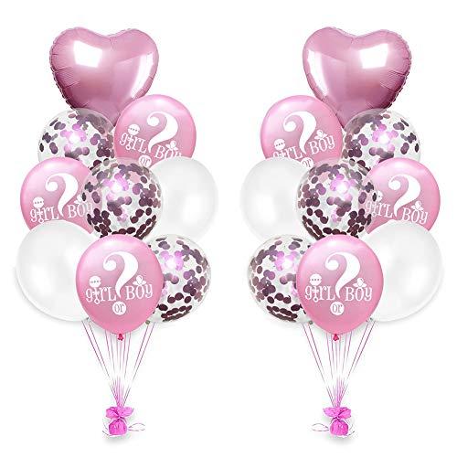 Demarkt 18pcs Deko Luftballons Set für Baby Dusche Taufe Herz, Wort und Pailletten Helium Ballon 'Girl or Boy' aus Latex und Aluminiumfolie für Babygeburt, Ballon Serie 18zoll, 12zoll (Rose-Serie)