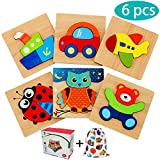 E-MANIS Puzzle in Legno per 1 Anni Giochi Bambini Set 2 3 Anni Bambina 4 5 Anno Bambino Giocattoli Montessori Educativi Legno in Gioco Ragazza Ragazzo Regalo Animali e Veicoli 6 Pezzi, Multicolore
