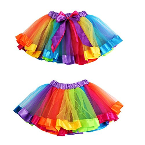 OverDose Mädchen Kinder Petticoat Regenbogen Pettiskirt Bowknot Rock Tutu Kleid Dancewear Weihnachten Kostüm(4-6T,Multicolor) (Kleinkind Satin Pyjama)