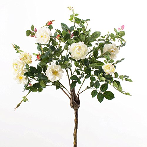 Deko Rosenkugelbaum mit 8 Blüten und 4 Knospen, weiß, 140 cm – Künstliche Rosen / Künstlicher Baum – artplants