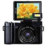Digital Camera caméscope Full HD 1080p 24.0MP Vlogging Camera 7,6cm Flip écran caméscope Caméra rétractable avec Lampe de Poche