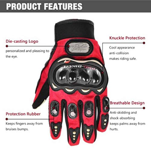 Probiker Synthetic Leather Motorcycle Gloves (Black, L)