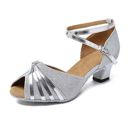 Minitoo gl193b Donna Nodo Raso Sintetico Latina professionale scarpe da ballo matrimonio sera sandali, argento (6 Sexy Silver Shoe)