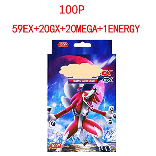 zyl 100 Pokemon-Karte,Pokemon Card Magischer Elf,Flash Card, Sammelkarte, Puzzle Fun Card Game,Flash-Karte,Trainer Card, MEGA Energy Trainer(59EX+20MEGA+20GX+1ENERGY) (Pokemon Mega-card-box)