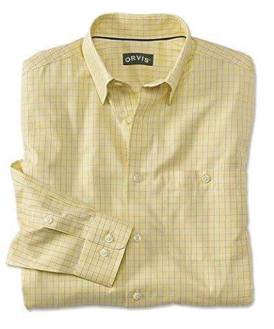 Orvis Hidden-button-down Wrinkle-free Cotton Twill Shirt, Yellow Check, Xx