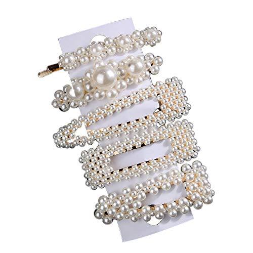 osfanersty 5 Stücke Süße Mädchen Haarnadeln Künstliche Perle Haarnadel Set BB Clip Wort Seite Clip Frisur Dekoration Schmuck Geschenk