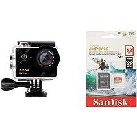 Nilox Evo 4K S Cinema Action Camera, Nero & SanDisk Extreme microSDHC 32GB per Action Camera e Droni Adattatore SD…