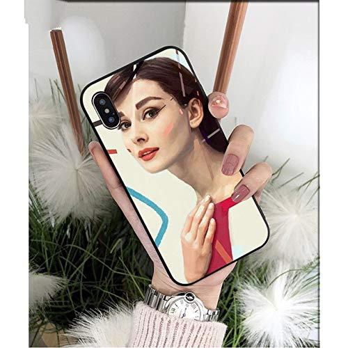 NJSdd Audrey Hepburn schwarz TPU weichen silikon Telefon case Abdeckung für iPhone 8 7 6 6s Plus 5 5s se xr xs max Coque Shell, a4, für iPhone xr