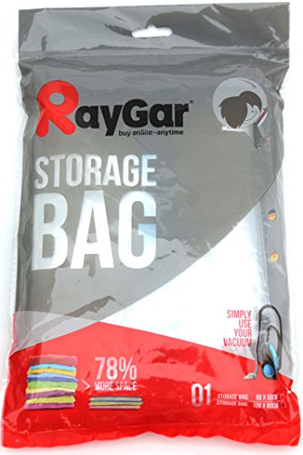 RayGar 6 Bags Pack Vacuum Compressed Storage Saving Bags 100 X 80 cm Clothing, Duvets, Bedding, Pillows, Curtains, Travelling – New