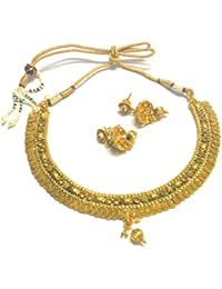 OranGey Fashion - Ultimate Gold Plated Kundan Necklace Set With Beautiful Kundan Earring Drop