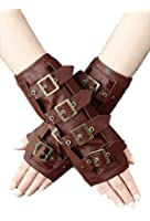 Restyle Pair of STEAMPUNK ARMWARMERS Brown Faux Leather