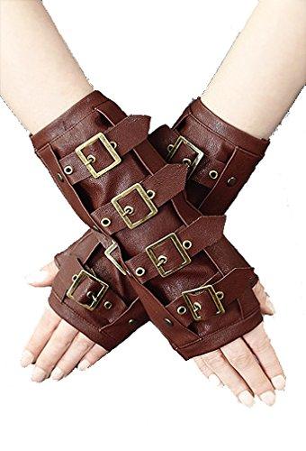 Restyle - Calentadores de brazos, un par, estilo steampunk, piel sintética, color marrón