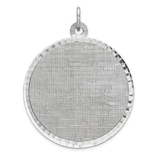 Wunderschönes Sterling-Silber 925 rhodiniert Eng. Rnd Schleifscheibe, poliert, Vorderseite, Rückseite Satin