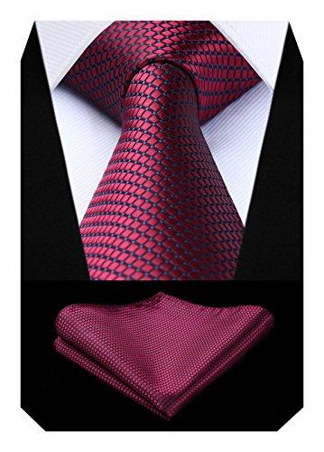 BIYINI Herren Uberprufen Sie Krawatte Hochzeitsfeier Taschentuch Krawatte & Einstecktuch Set Krawatte
