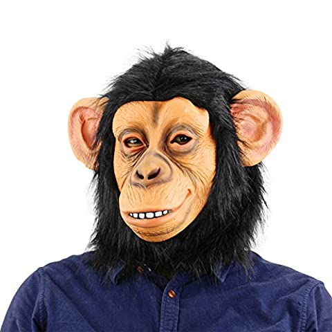 QTMY Latex Rubber Grotesques Ugly Horrible Apes Gorilla Monkey Mask with Multicolour Hair for Halloween Party