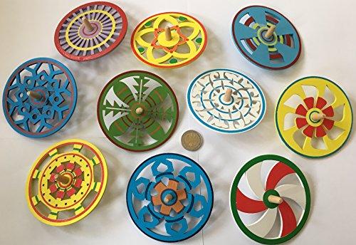 10 große bunte Holz Kreisel 9,7 cm Durchmesser Basteln Holzkreisel Set mit Muster von MEIERLE & Söhne