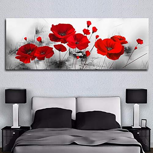 KKJJ Cuadro Moderno En Lienzo Pintura Naturaleza, Lienzo De Impresión Flor Roja Abstracta, para Salon Decoración De La Pared Enmarcada Grande Impresion Fotografica, Sin Aros,40 * 120CM
