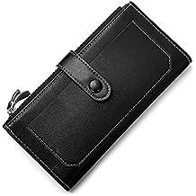 Woolala Soft Vegan Leather Wallet Bifold Phone Holder Multi Card Slots Long Purse