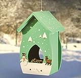 Farbenfrohe Vogelfuttervilla, hängend, aus Echtholz, Vogelhaus, Futterhaus, Vogelfutterstation, Holz, hängend - verschiedene Modelle - (Grün mit Wintermotiv)