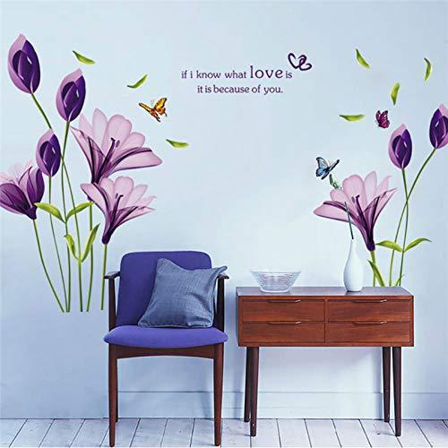 QGMZHN Wandaufkleber Diy Abnehmbare Romantische Lila Lilie Blumentapete Pvc 3D Wandaufkleber Blume Wohnkultur