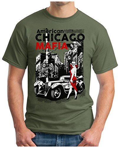 OM3 - CHICAGO-MAFIA - T-Shirt AMERICAN PATE THE GODFATHER NEW YORK LITTLE ITALY NYC GEEK, S - 5XL Oliv
