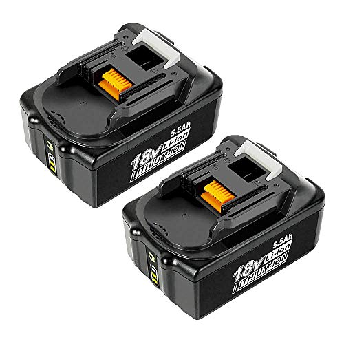2 Stück 18V 5.5Ah BL1860B Ersatzakku mit LED-Anzeige Kompatibel für Makita 18V BL1830B BL1860B BL1840B BL1815 LXT-400