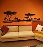 Premium Wandtattoo Wandaufkleber Afrika Elefanten Giraffen Nilpferde MAXI XXL 1,86m x 0,6 Motiv: #72 dunkelbraun RAL 8017