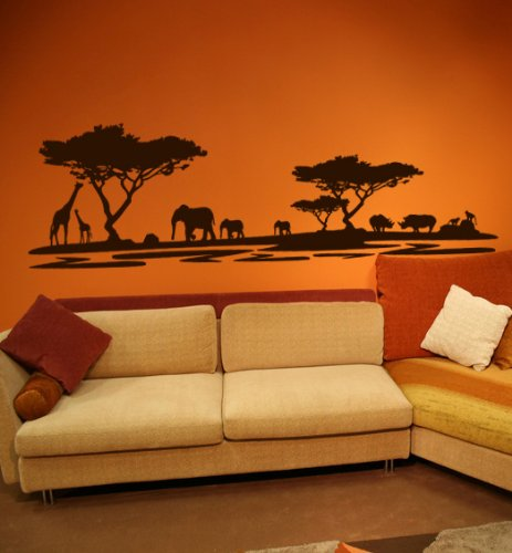 Premium Wandtattoo Wandaufkleber Afrika Elefanten Giraffen Nilpferde MAXI XXL 1,86m x 0,6 Motiv: #72 dunkelbraun RAL...