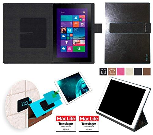 reboon Hülle für Dell Venue 10 Pro Tasche Cover Case Bumper | in Schwarz Leder | Testsieger